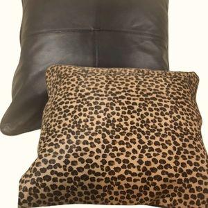 WILLIAMS SONOMA Animal Print Black Leather Pillow